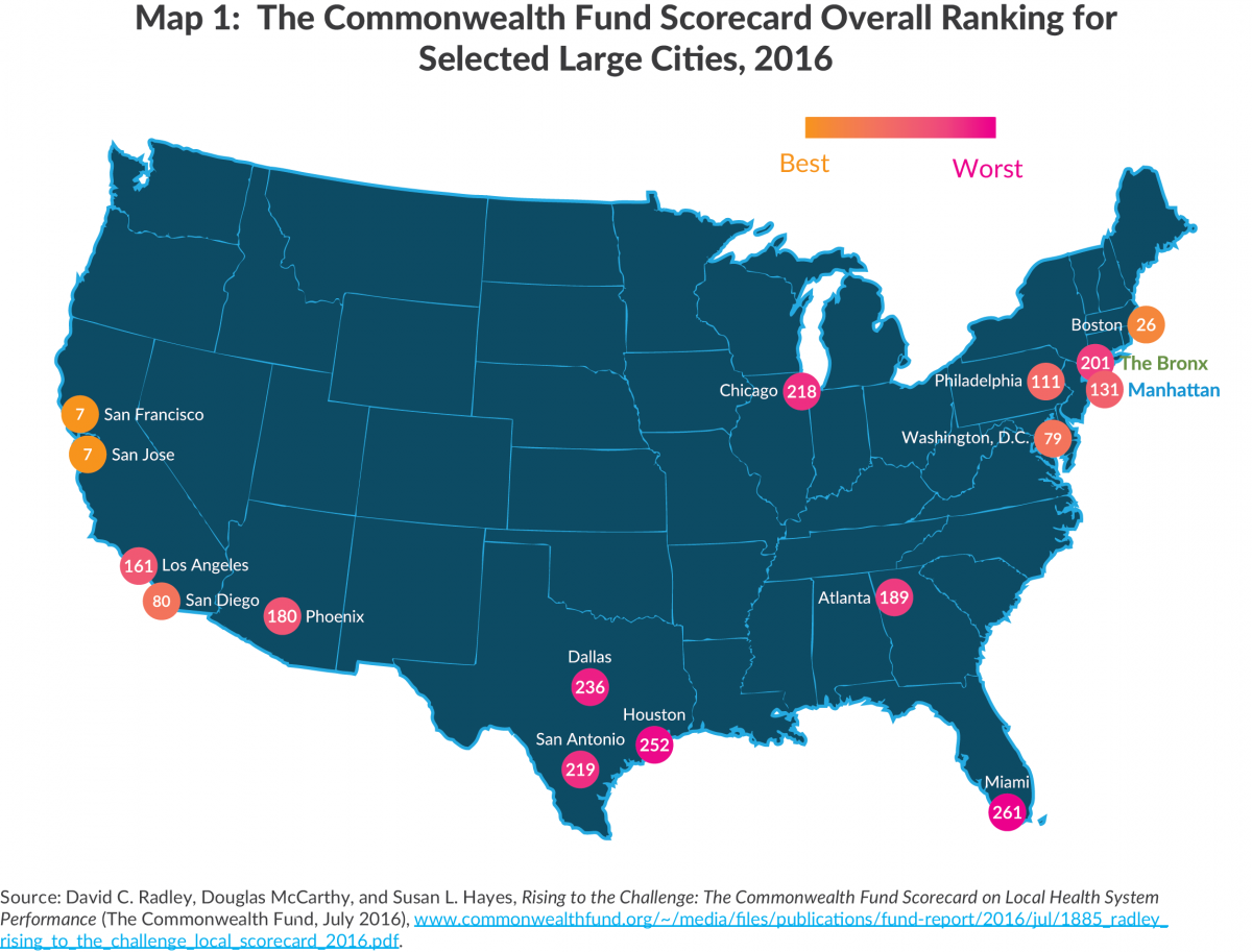 Map 1:  The Commonwealth Fund Scorecard Overall Ranking for Selected Large Cities, 2016