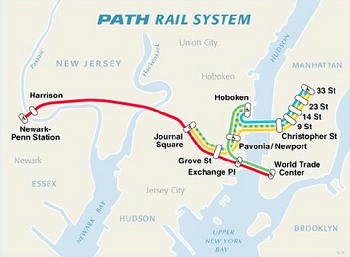 Figure 1: Map of PATH Rail System