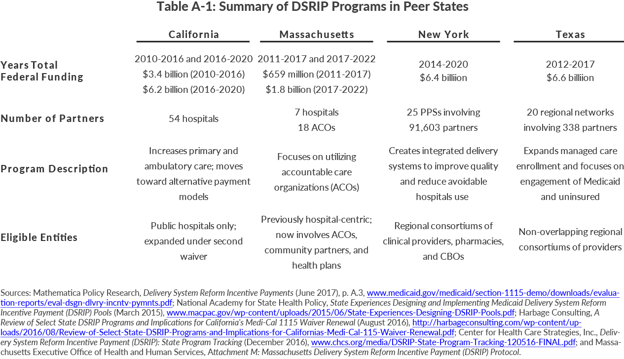 Table A-1: Summary of DSRIP Programs in Peer States