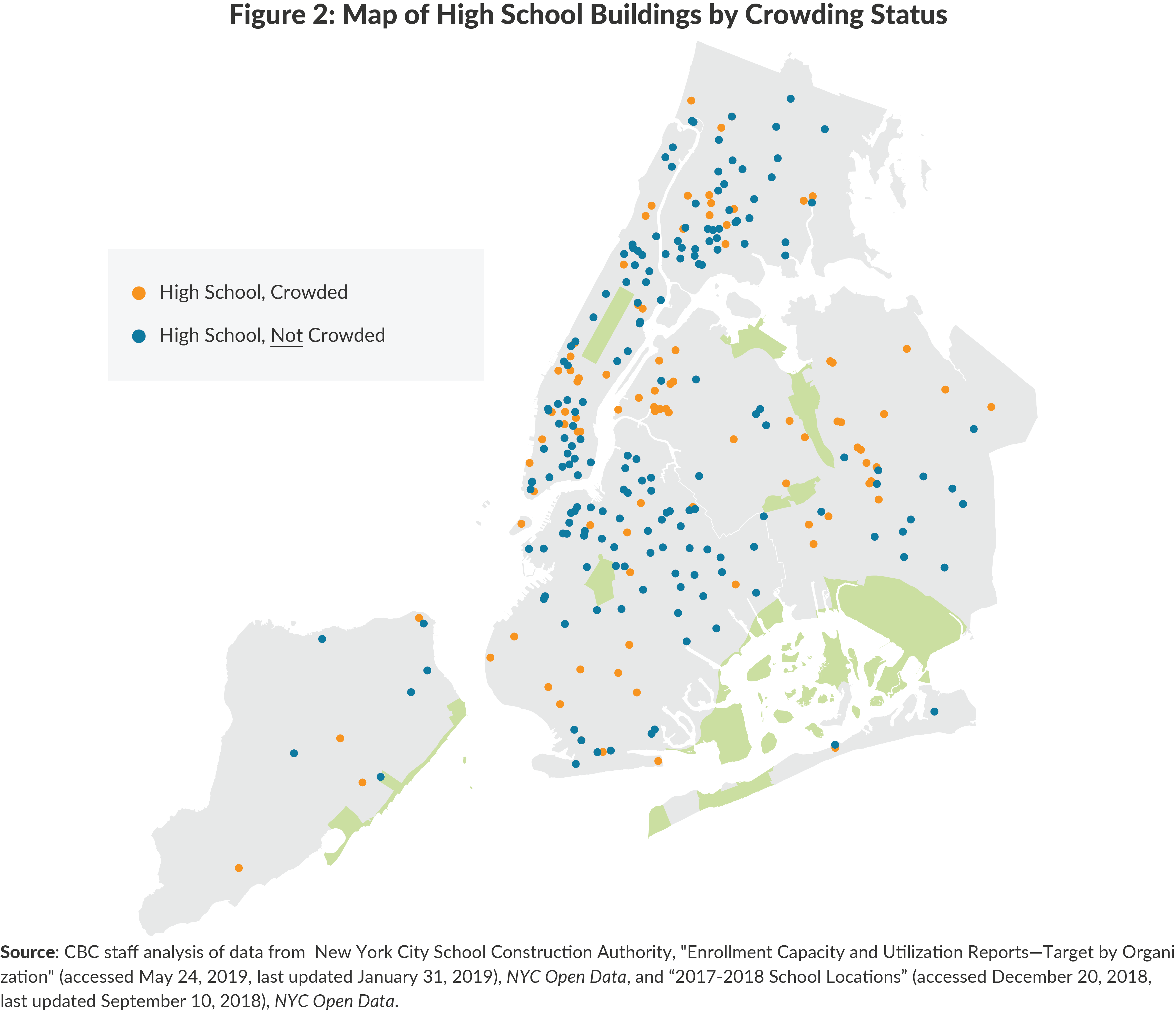 Figure 2: Map of High School Buildings by Crowding Status