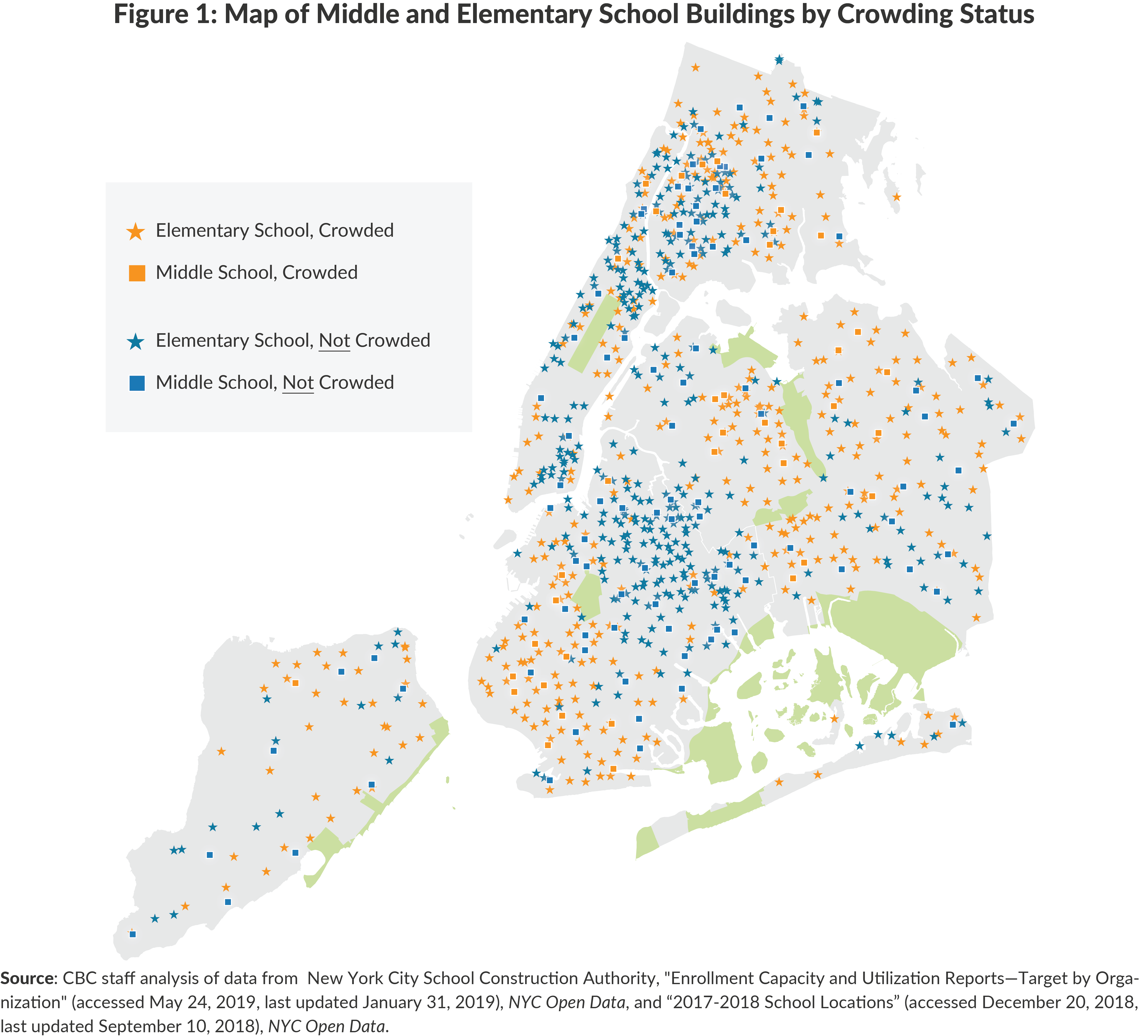 Figure 1: Map of Middle and Elementary School Buildings by Crowding Status