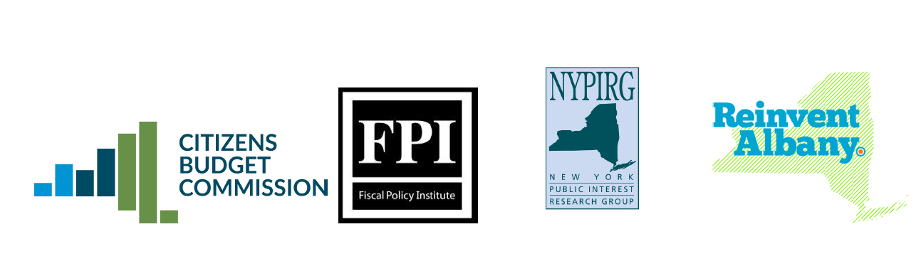 logos for cbcny, nypirg, reinvent albany, and fpi